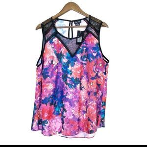 NWT City Chic Pixel Rose Bold Floral Tank Top 125